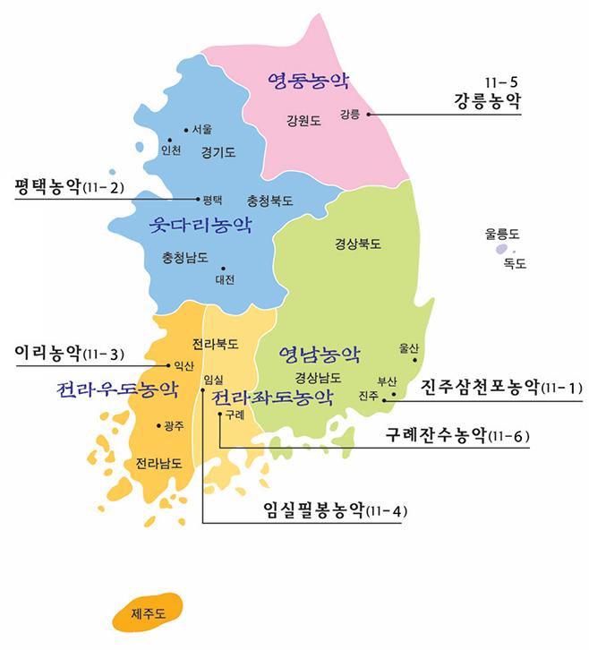 대한민국 6대 농악 분포도